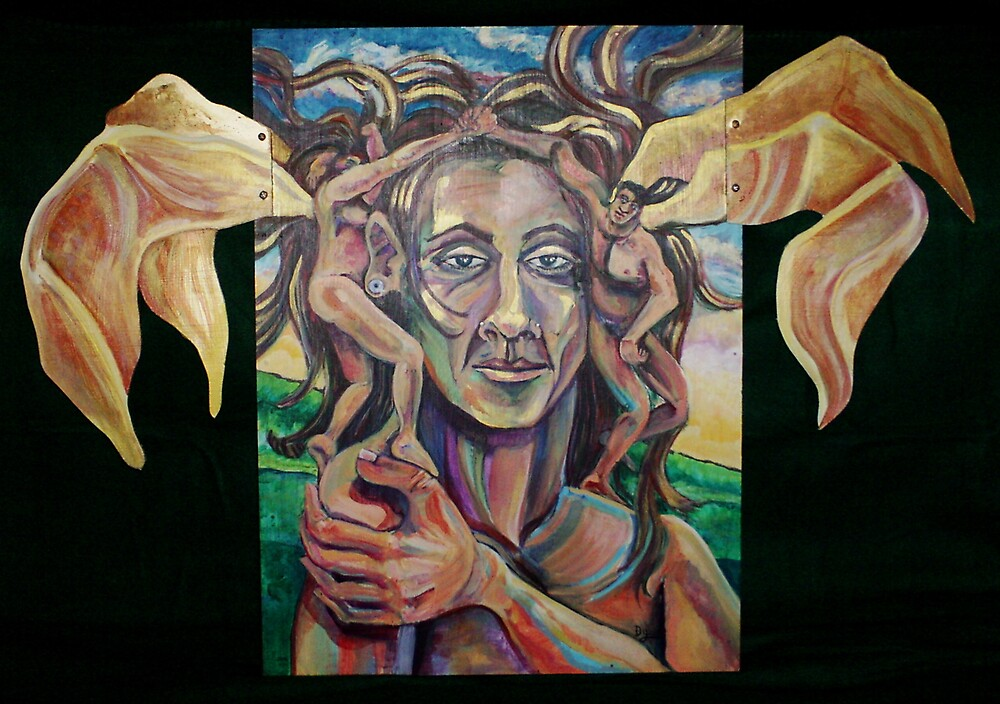 Trinity Self-portrait (Acrylics on Wood)- by Robert Dye