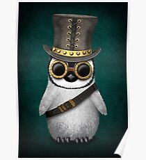 Steampunk Baby Penguin Teal Blue Poster