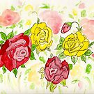 Red & Yellow Roses by Anne Gitto