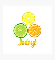 Cute Juicy Orange Lime Lemon citrus art Photographic Print