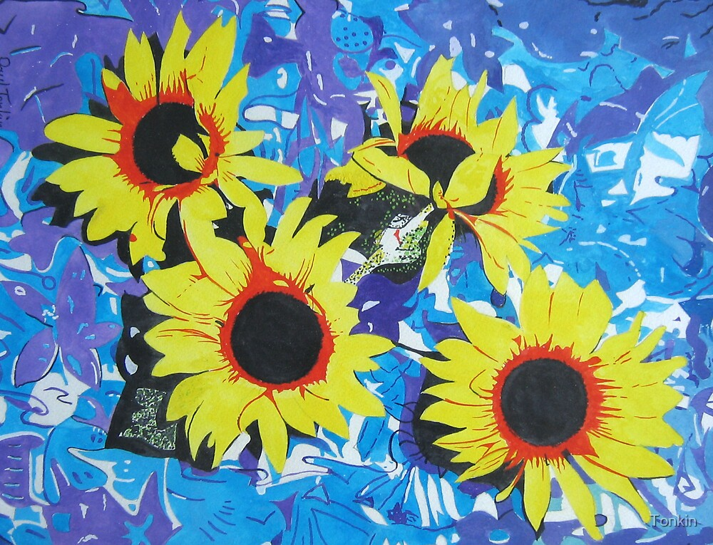 Four Sunflowers by Tonkin