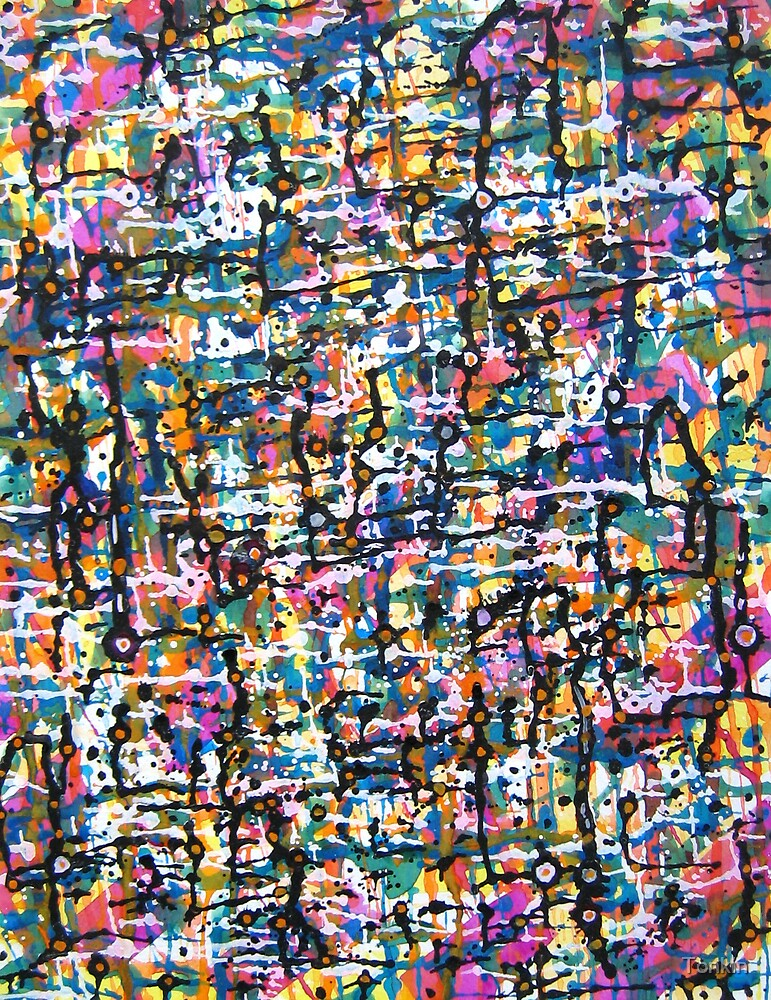 Abstract in Purple Yellow and Black by Tonkin
