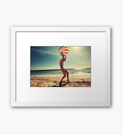 Beach Ball and Girl Framed Print