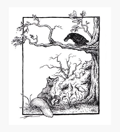 The fox and the raven Photographic Print