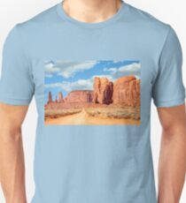 On the road through Monument Valley Panorama Unisex T-Shirt