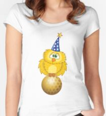 Owl Cartoon Theme Women's Fitted Scoop T-Shirt
