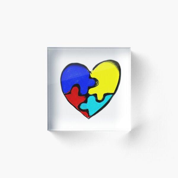 Autism Awareness Heart Acrylic Block
