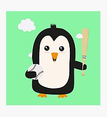 Penguin Baseball Player with Ball Rv6qq Photographic Print