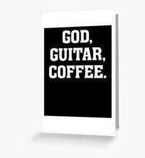 God, Guitar, Coffee - Christian Drummer Musician T Shirt Greeting Card