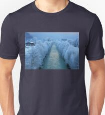 Where the river meets the foggy lake Unisex T-Shirt