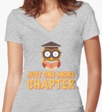 Just One More Chapter Wise Owl Reading A Book Women's Fitted V-Neck T-Shirt