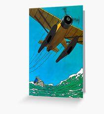 Tintin Airplane Print Greeting Card