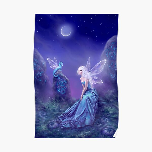 Luminescent Fairy & Dragon Art Poster