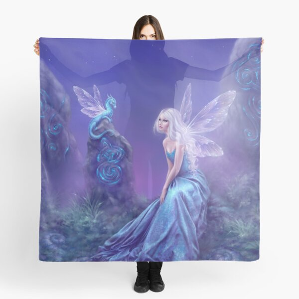Luminescent Fairy & Dragon Art Scarf