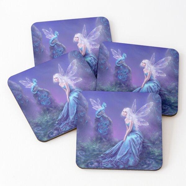 Luminescent Fairy & Dragon Art Coasters (Set of 4)