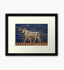Mosaic Bull (White) Framed Print
