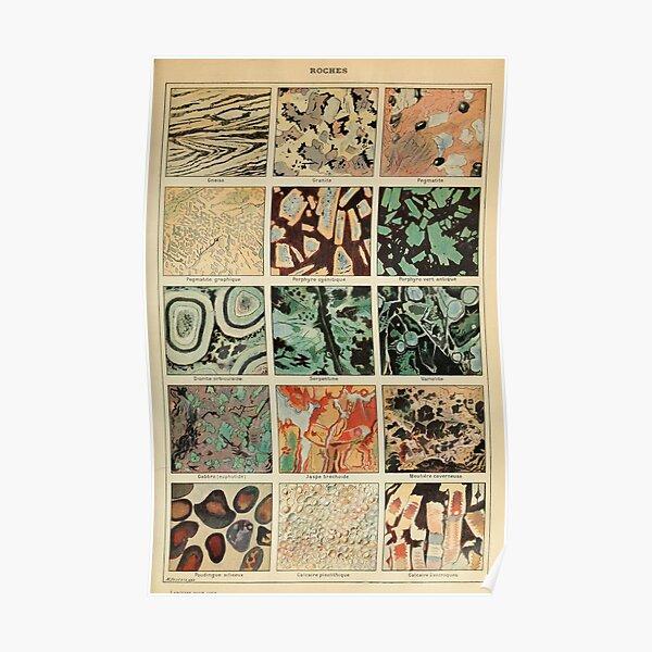Impression de cristaux - Impression de géologie - Journal scientifique français d'époque Poster
