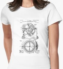 Nautical Compass Patent Womens Fitted T-Shirt