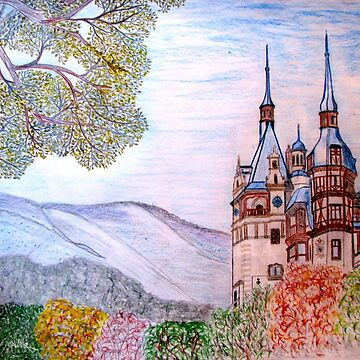 My coloured pencil drawing of Peles Castle, Prahova County, Romania 1873 by ZipaC
