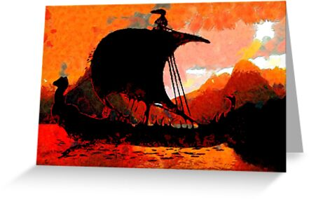 A Viking Longship at Sunset by Dennis Melling