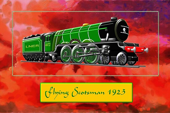 'Flying Scotsman the Steam Locomotive in Green 1923' Poster by Dennis  Melling