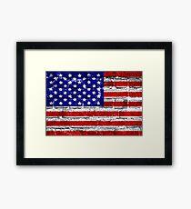 USA Flag Brick Wall Framed Print