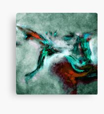 Surrealist and Abstract Painting in Teal and Orange Color Canvas Print
