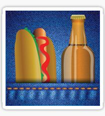 hot dog and beer Sticker