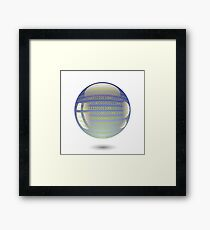 digital sphere with programming code isolated on white background Framed Print