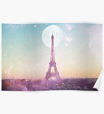 Ich liebe PINK PARIS EIFFEL TOWER - Vollmond-Universum Poster