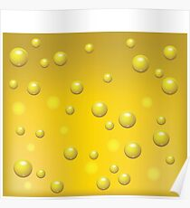 Yellow Beer with Bubbles of Carbon Dioxide Background Poster