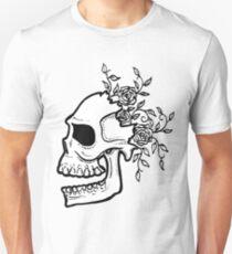 Cracked Skull and Roses Unisex T-Shirt