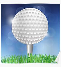 Golf White Ball on Blurred Blue Sky Background Poster
