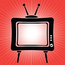 Retro Old TV Icon on Red Wave Blurred Background by valeo5