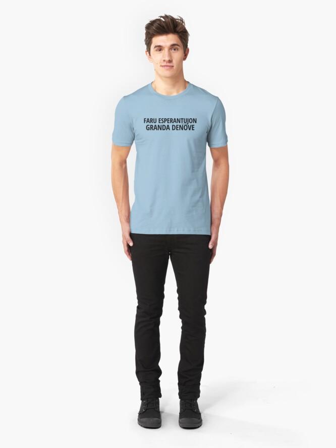 Alternate view of Faru Esperantujon Granda Denove - Nigra Slim Fit T-Shirt