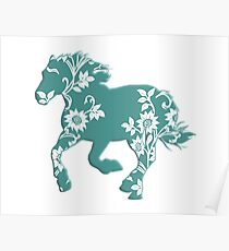 Horse Silhouette flowers Poster