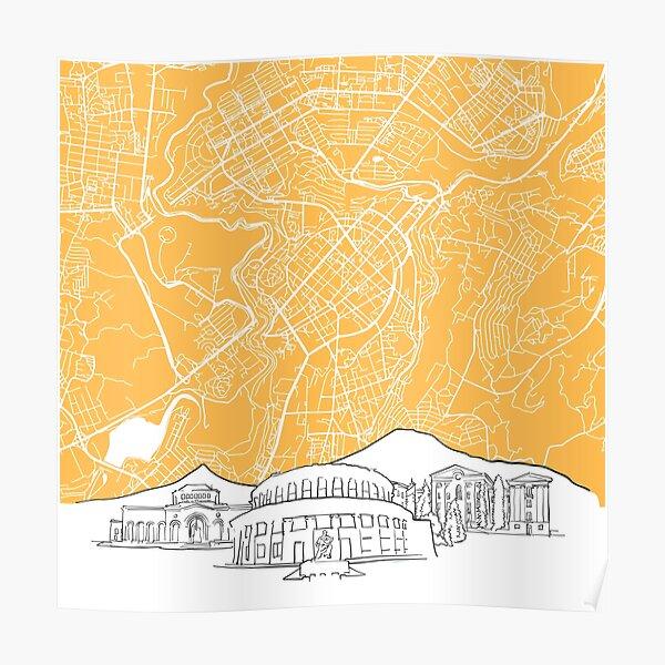 Yerevan Armenia Background Map Poster