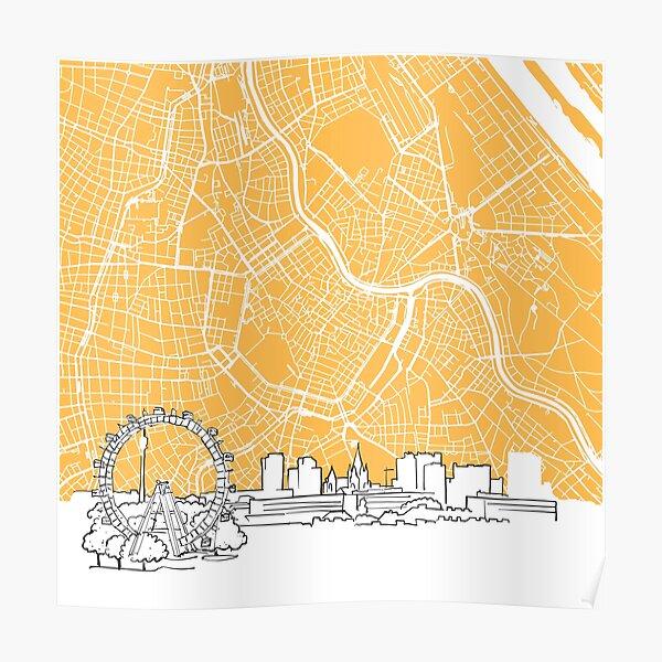 Vienna Austria Background Map Poster