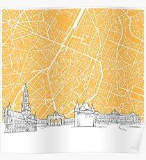 Brussels Belgium Skyline Map Poster