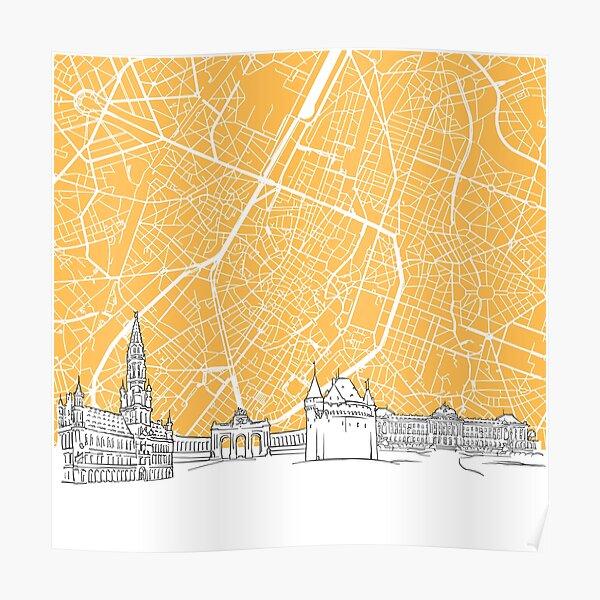 Brussels Belgium Skyline Map Poster