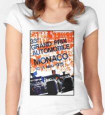 MONACO GRAND PRIX: Vintage Auto Racing Advertising Print Women's Fitted Scoop T-Shirt