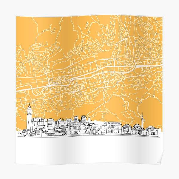 Sarajevo Bosnia and Herzegovina Skyline Map Poster