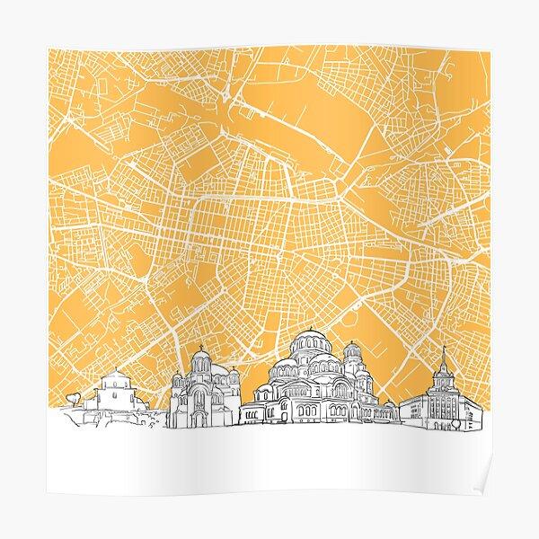 Sofia Bulgaria Skyline Map Poster