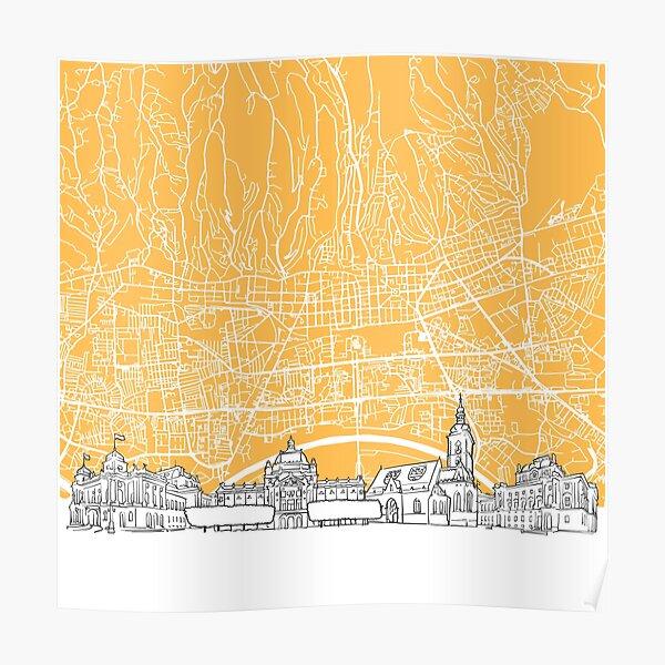 Zagreb Croatia Skyline Map Poster