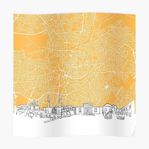 Nicosia Cyprus Skyline Map Poster