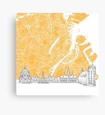 Copenhagen Denmark Skyline Map Canvas Print