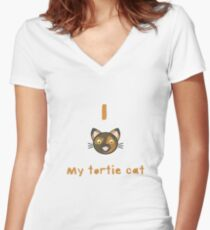I Love My Tortie Cat Women's Fitted V-Neck T-Shirt