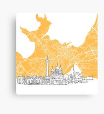 Tallinn Estonia Skyline Map Canvas Print