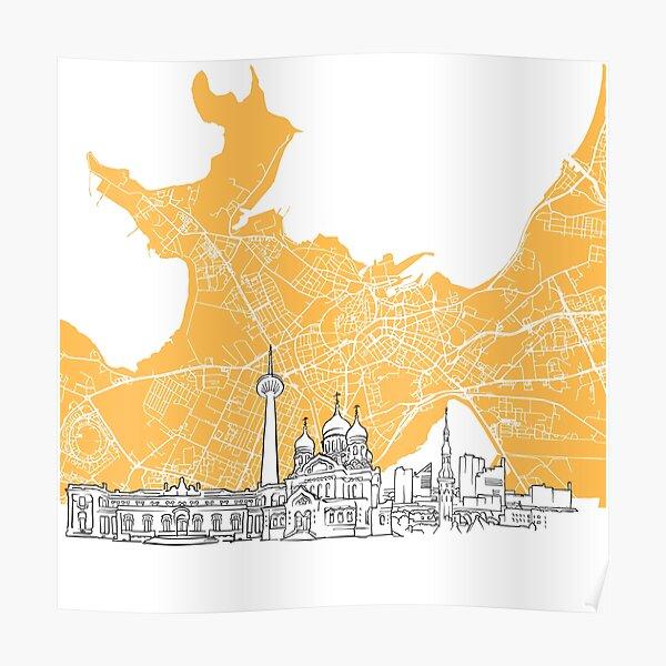 Tallinn Estonia Skyline Map Poster