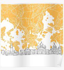 Helsinki Finland Skyline Map Poster